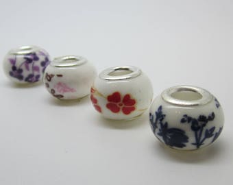 Set of 4 ceramic beads, 13 X 10 mm, flower pattern.