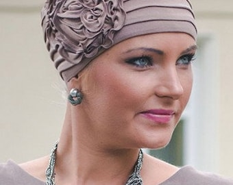 Bamboo Side Corsage Hat For Hair Loss|Womens chemo hat | stylish chemo headwear | turbans for cancer patients | chemo headwear | cancer hat