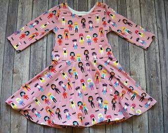 Pink Supergirl Dress. Superhero Dress. Supergirl Dress. Baby Dress. Toddler Dress. Little Girl Dress. Twirl Dress. Twirly Dress.