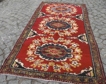 turkiSH rug, rug oushak vintage, rug colourfull, runner rug oushak, rug vintage decor, turkish rug decor, rug red,