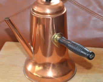 ANTIQUE All COPPER Tea/Coffee POT.. Vintage70s. Long Black Wooden Handle, Long Copper Spout.