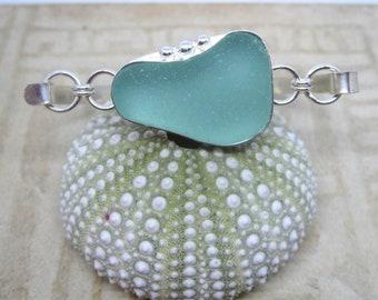 Seafoam Sea Glass and Sterling Silver Bangle Bracelet