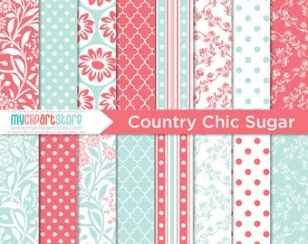 Digital Paper - Country Chic (Sugar, Pink and Blue), Scrapbook Paper, Digital Pattern, Commercial Use, JPEG, PDF