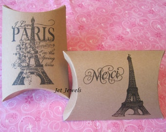 10 Gift Boxes, Paris Theme Party, Eiffel Tower, Merci, Jewelry Gift Boxes, Kraft Box, Party Favor Boxes, Pillow Box, Hand Stamped 4.5x4.5x1