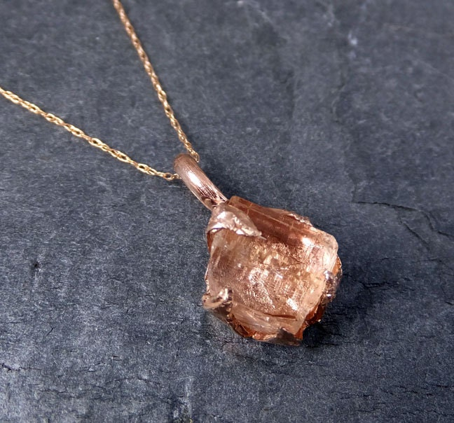 Raw rough champagne pink topaz 14k rose gold pendant gold pink zoom aloadofball Gallery