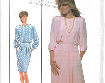Simplicity 9015 Size 14 Bust 36 Misses' Dress Sewing Pattern Pleated Bodice & Skirt Buttoned Cuffs Long or Three-Quarter Sleeves 1989 Uncut