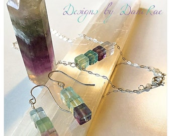 Flourite (necklace only) in sterling silver nickel free crystal gemstone