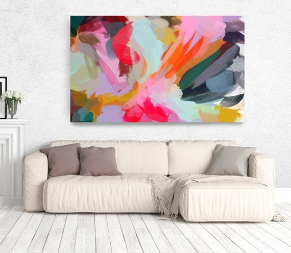 """The Color Movement 9, Abstract Art Canvas Print, Living Room Wall Decor Blue Pink Art, Colorful, Trendy Wall Art up to 80"""" by Irena Orlov"""