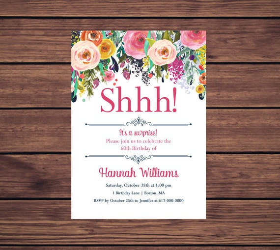 Surprise Birthday Invitation Pink Floral 60th Birthday