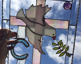 Dove with Cross Stained Glass