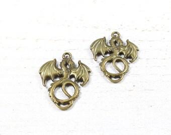 2 charms / pendants dragon metal color bronze 35 x 28mm