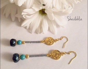 Pearl earrings, turquoise earrings, pearls, turquoise, blue, charcoal, navy, dangle earrings, rainbow, freshwater pearls