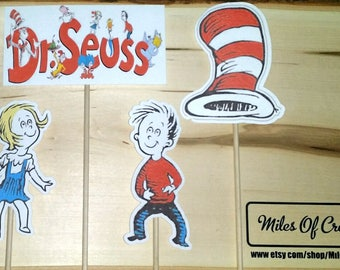Dr. Seuss The Cat In The Hat Inspired Centerpiece Character on a Stick