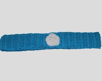 kids headband , crochet kids headband , turquoise , 54 cm