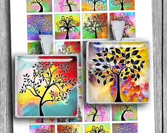 """Tree of Life 1x1"""" 0.75x0.83"""" 1.5x1.5"""" images for Jewelry Scrabble tile images Printable Digital Collage Sheet - Instant Download"""