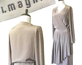 Vintage I.MAGNIN Printed Silk Wrap Dress — M/L