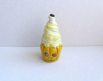 Lemon Zombie Cupcake - Polymer Clay Sculpture - Monster Cupcake - Halloween Decor - OOAK