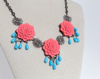SALE Coral Petals Necklace - Gunmetal Filigree and Flower Statement