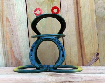 Frog made from real horseshoes garden yard art hand crafted in the USA