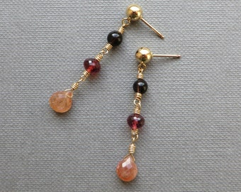 Sunstone Wine-Colour Tourmaline Smoky Quartz Gold Earrings
