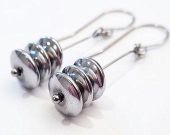 Metalikus Collection Silver Circle Stack Hematite Stainless Steel Earrings
