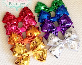 """4"""" Sequin Hair Bow~ Choice of Red, Pink, Orange, Gold, Silver, Green, Blue, Purple"""
