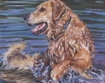 Golden RETRIEVER dog art canvasPRINT of LAShepard painting 12x12""
