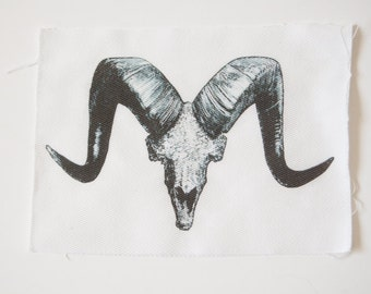 Sheep or Goat Skull Sew On Patch