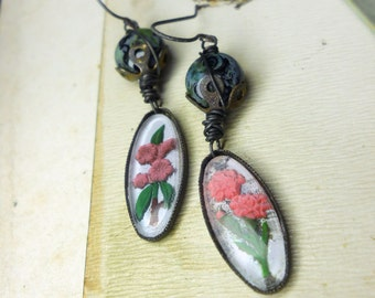 Rustic Floral Earrings - Vintage Intaglio Cabochon & Stone Bead Earrings - Mismatch Pink Flowers, Oxidized Metal - Steel Wire Wrapping