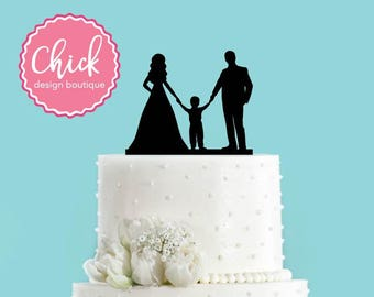 Couple Holding Hands with Little Boy, Bride and Groom Wedding Cake Topper