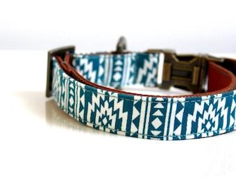 Southwestern BOHO Tassel Charm Dog Collar - Antique Brass, Brown, Ocean Blue