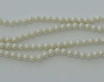 50 8 mm ivory glass pearl beads