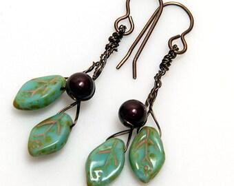Mint Green and Maroon Glass Leaf Twig Earrings, Green and Burgundy Leaf Dangle Earrings,  Green Maroon Nature Jewelry, Faerie Earrings