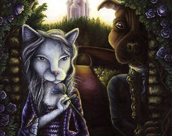 Beauty and the Beast, Cat and Dog Fairytale 8x10 Fine Art Print