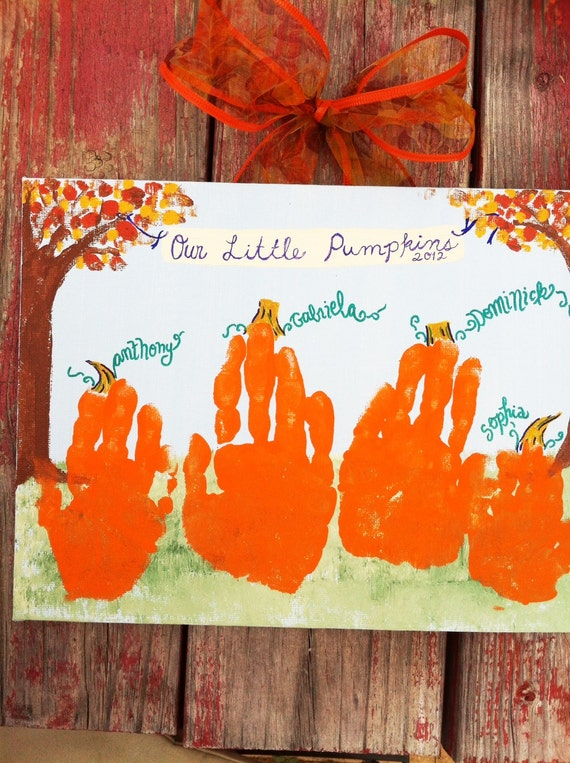 pumpkin crafts for toddlers items similar to pumpkin handprint kid s craft kit 11x14 5298