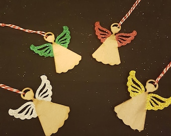 Wooden laser cut hand made Christmas tree Angel decorations