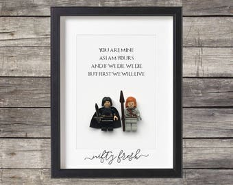 Game of Thrones Jon Snow Ygritte Lego Compatible Minifigure Valentine Wedding Anniversary Couple Gift