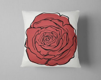 Rose Throw Pillow, Red, Dorm Room Decor, Floral, Retro Decor, Color Block, Modern, Pillow Cover, Cushion Cover, Gift for Wife, Gift for Her