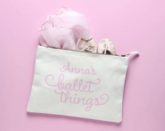 Natural Cotton Ballet bag personalised with your child's name