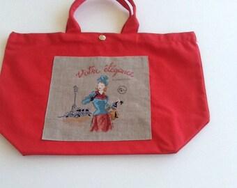 Handbag with hand embroidered design