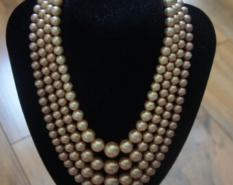 Vintage  Jewelry  4 Strand Vintage Necklace / Faux Pearl/ Beads/ light brown  Y-003