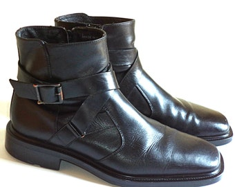Size 8 M Alfani Men's Beattle Boots Ankle Chelsea Biker ITALY MADE Shoes Black Full Grain Leather Refurbished Shoes Ex Condition Quality