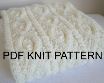 PDF Pattern for Knit Cords and Cable Aran Scarf
