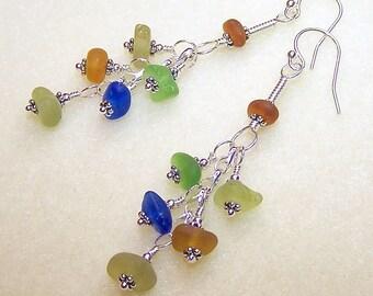 Genuine Sea Glass Earrings for Women Beach Glass Jewelry Beach Gifts for Her Sea Glass Jewelry