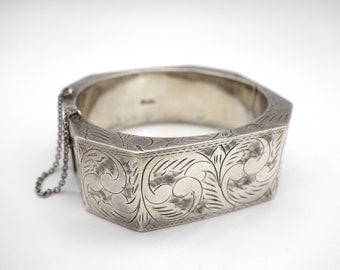 Sterling Art Deco bangle - Octogon bangle, Etched cuff, sterling cuff, 925 bangle, Art Deco bracelet, 1920's bracelet, flapper bracelet