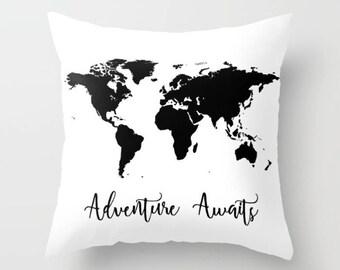 World Map Pillow, Adventure Awaits, Globe Cushion Cover, Map Throw Pillow, Black & White Travel Pillow, Wanderlust Adventure Gift