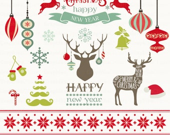 Christmas Clipart. Vector Christmas Clipart. Christmas frames, christmas deer. 16 images, 300 dpi. Eps, Png files. Instant Download.