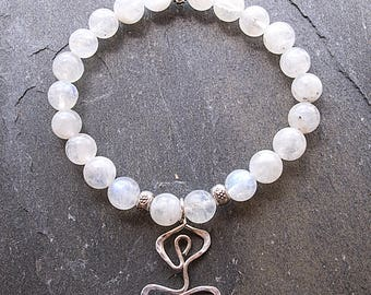 Mala Bracelet, Moonstone bracelet, Gemstone Stretch Bracelet, Mala Beads, Healing Bracelet, Wrist Mala, Yoga Jewelry, Yoga Bracelet