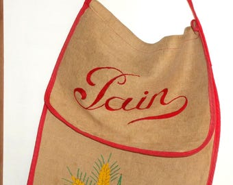 Vintage French Baguette Bag. Sac á Pain.  French Bread Storage Storage Bag.  Embroidered Linen sac á pain.