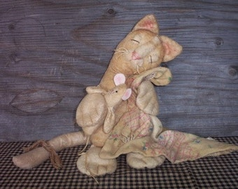 Sewing E-Pattern Primitive Sleepy Benton Cat and Mouse Teddy Bear Doll